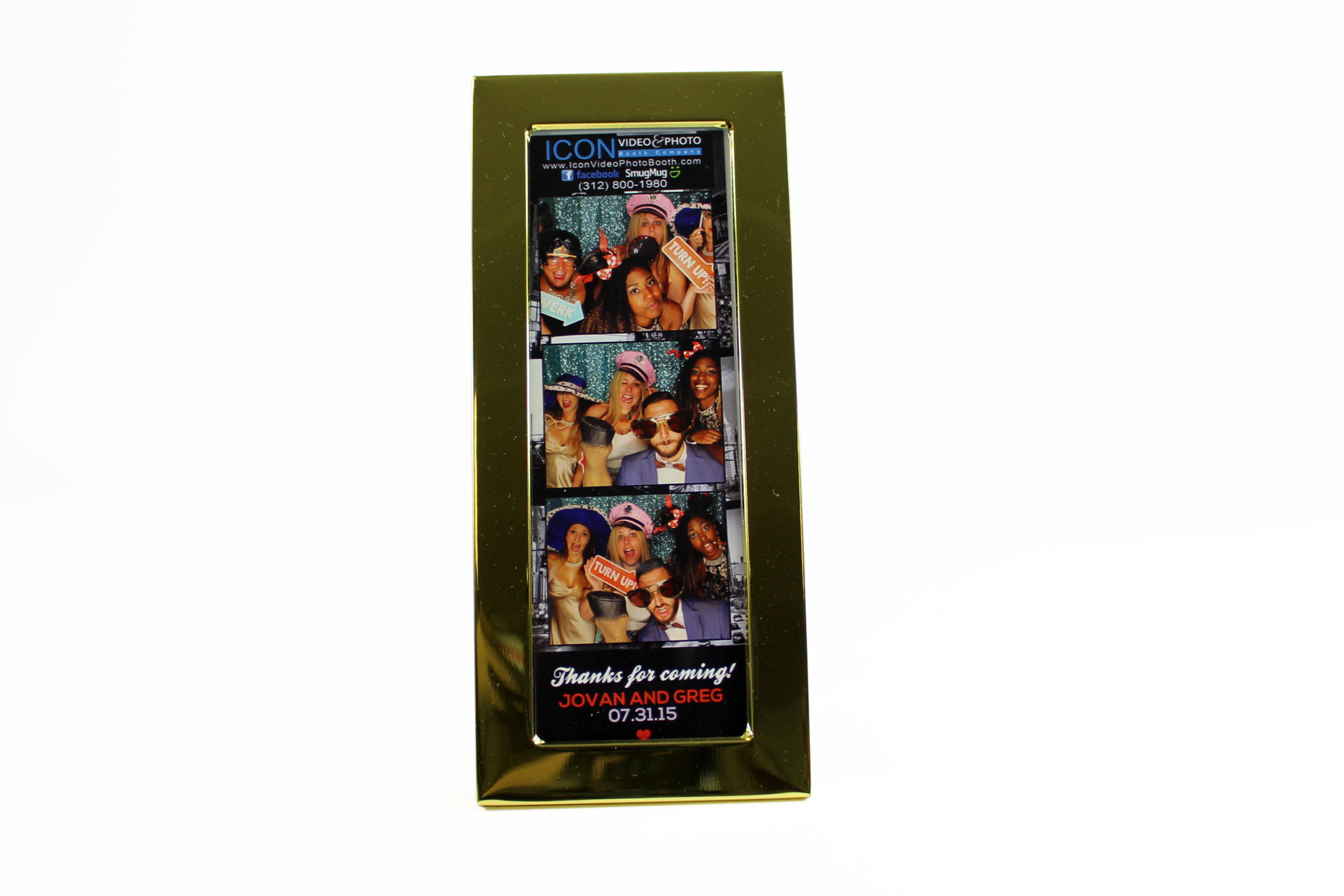 Photo Frame 2x6 Photostrip Frame Gold Icon Video Photo Booth
